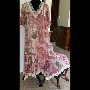 1X Pink 90s Throwback Romantic Dress Long Lace